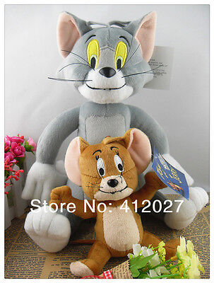 2PCS Tom and Jerry Plush Dolls Soft Stuffed Animal Cartoon Toys 10""