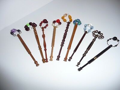 Lace making turned wooden Bobbins with spangles - Set of 9 wood bobbins