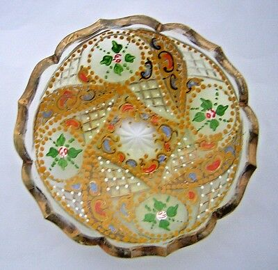 ANTIQUE BOHEMIAN GLASS DISH / STAND -  ISLAMIC / TURKISH MARKET -19th. Century.