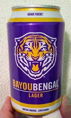 Bayou Bengal Lager Craft Beer empty 12oz can - Tin Roof Brewing Co. LSU licensed