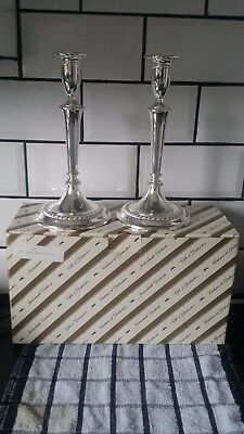 """Pair Of Silver Plated Large Candlesticks On A Circular Base .10"""" Tall"""