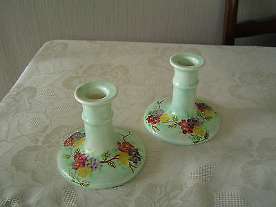 Radford Pottery Candlesticks - Hand Painted