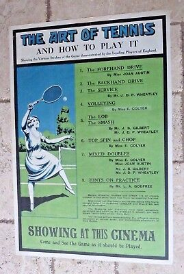 """1920's """"The Art of Tennis"""" vintage poster with female player"""