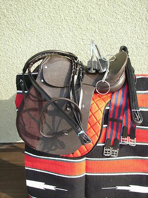 """17"""" New Leather Cambridge English Jump All Purpose Saddle Package Brown"""