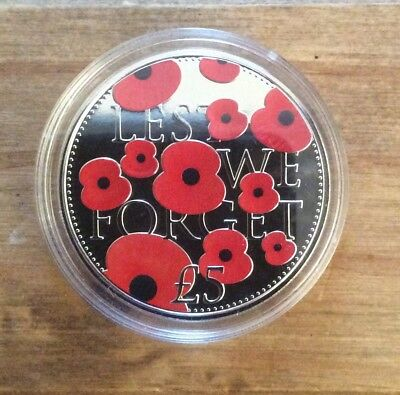 2016 Poppy £5 Coin. Lest We Forget