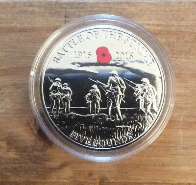 2016 Battle Of The Somme £5 Poppy Coin