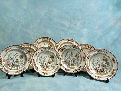 Antique 1860 COPELAND Indian India Tree Green Rust Soup Plates 8 Victorian