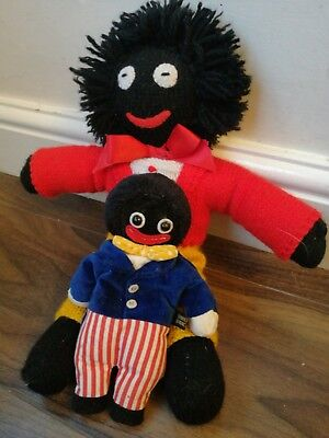Velveteen bean bear co & Wool Gollywog Teddy softtoys In Excellent Condition