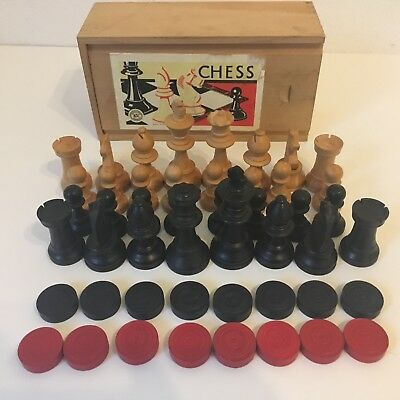Vintage French Chessmen Set K&C London Boxwood Staunton Chess Set  - Boxed c.195