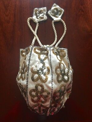 Vintage / Jane Austen Silk Spangled Reticule Purse