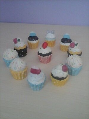 Cupcake Ornaments x 11 - Multi Coloured (sell as lot)