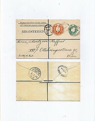 GB 1904 STO GOLD MINING CO REGD POSTAL STATIONERY ENV TO VIENNA 1/2d + 4d