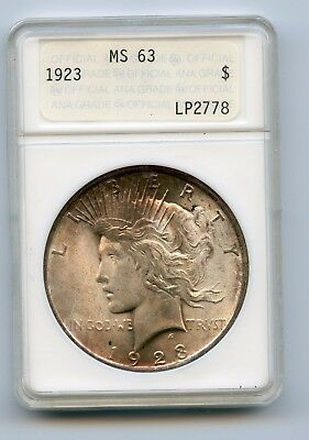 1923 Peace Dollar Anacs MS63 Old Original First Generation Holder!