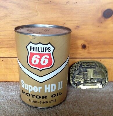 Vintage Phillips 66  Super HD II oil Can empty unopened  with free Belt Buckle