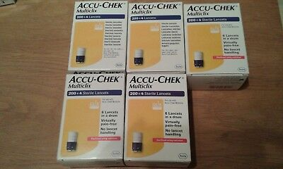 ACCU-CHEK MULTICLIX STERILE LANCETS, 5 boxes of 200 + 4, NEW & SEALED. Exp 2019