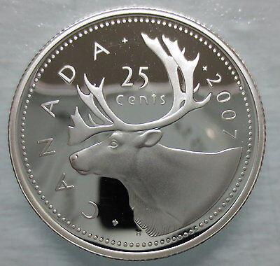 2007 Canada 25 Cents Proof Silver Quarter Heavy Cameo Coin
