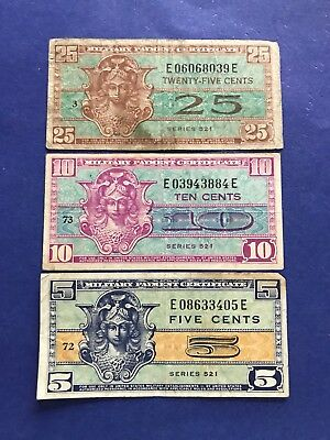 **LOT of 3** 5c,10c & 25c (Series 521) Military Payment Certificates