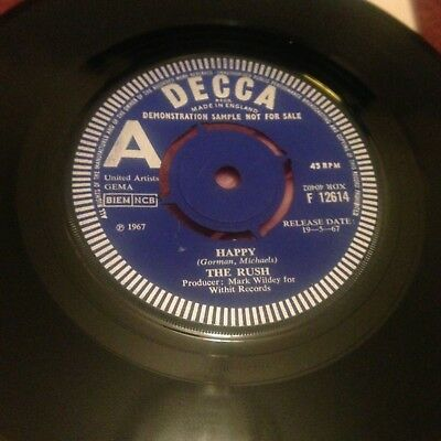 """The Rush Happy Once Again 7"""" 45Rpm Decca Demo Tinkerbell Fairydust 1967"""