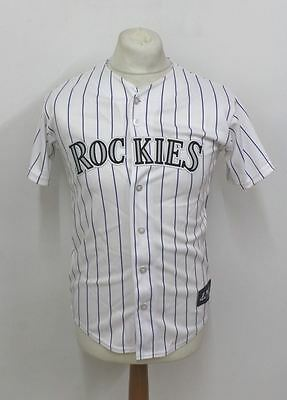 MAJESTIC BANGOR PENNSYLVANIA Men's White Striped 'Tulowitzki' Rockies Jersey L
