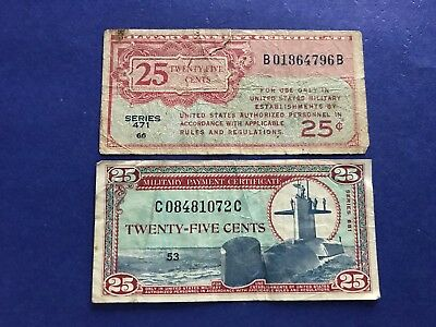 **LOT of 2** 25c (Series 471 & 681) Military Payment Certificates