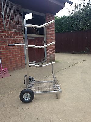 Heavy duty stainless steel 3 tier tack saddle trolley