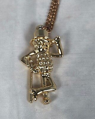 Rarely Seen Vintage Gold Tone Planters Mr Peanut Hanging Charm On Chain