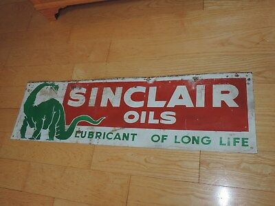 Antique Sign SINCLAIR OILS OIL Lubricant of Long Life Dinosaur Store Display 42""