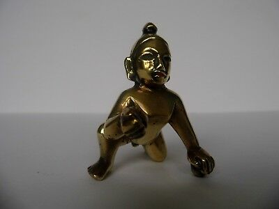 Antique Handcrafted Brass Baby God Krishna Idol Figurine
