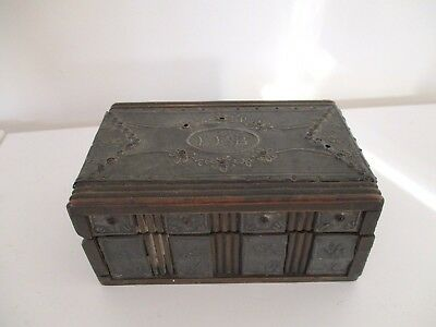 Unusual Antique Arts and Crafts wooden box with Pewter panels  'Feb'