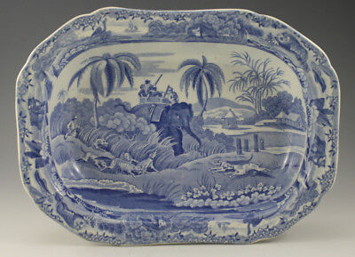 Antique Pottery Pearlware Blue Transfer Spode Indian Sporting Pie Dish 1815