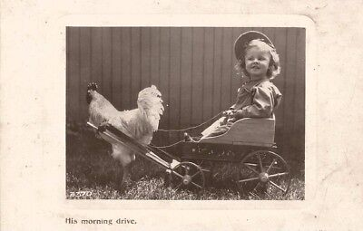 Humorous vintage postcard of a child in a buggy being towed by a cockerel.