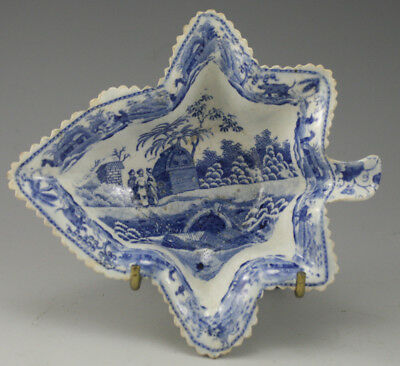 Antique Pottery Pearlware Blue Transfer Spode Caramanian Series Pickle Dish 1810