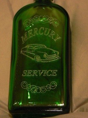 1949 MERCURY LEAD SLED HAND CARVED/ENGRAVED GREEN BOTTLE by K.SMITH