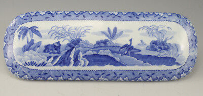 Antique Pottery Pearlware Blue Transfer Spode Indian Sporting Razor Box Lid 1815