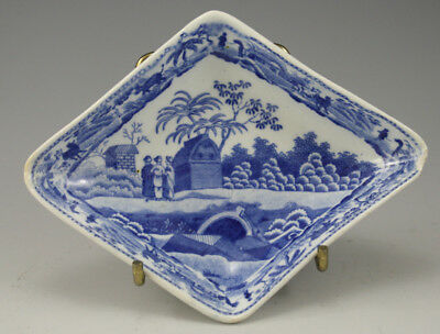 Pottery Pearlware Blue Transfer Spode Caramanian Diamond Pickle Dish 1810