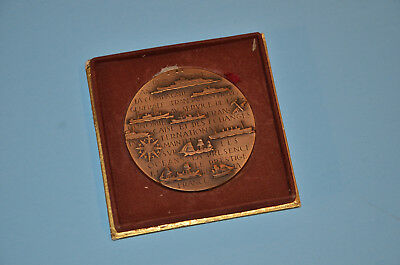 Art deco bronze medal from 1955 celebrating centenary of French Line