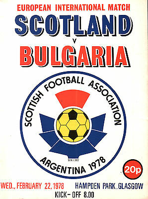 1977/78 Scotland v Bulgaria, friendly, PERFECT CONDITION