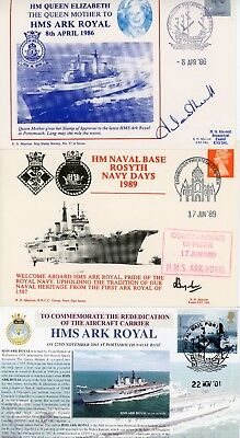 3 RARE First Day Cover, ROYAL NAVY , HMS ARK ROYAL, RO7, CAPTAINS SIGNED