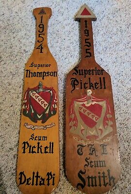 1954 & 1955 Fraternity Wooden Paddles Delta Pi Estate Hand Painted Rare Nr!