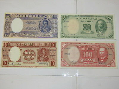 4 Banknotes from Chile all UNC