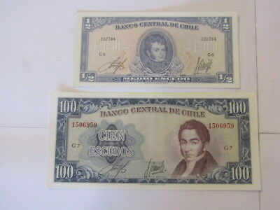 2 Banknotes from Chile,
