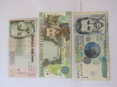 3 Banknotes from Colombia,