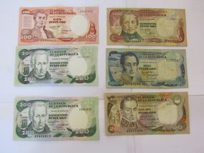 6 Banknotes from Colombia,