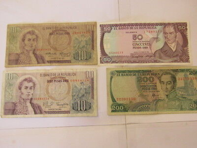 4 Banknotes from Colombia,