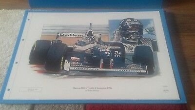 Damon & Graham Hill Prints By Brian Reaney. F1. Ltd Editions. Never Used.