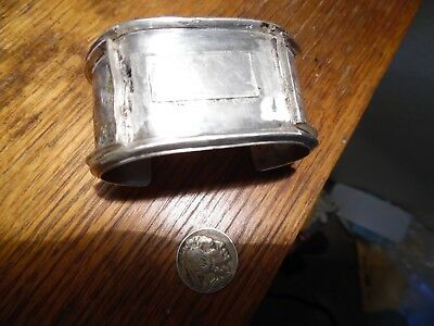 Vintage Hand Crafted Sterling Native American Wide Cuff Bracelet Signed Heavy