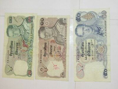 3 Banknotes from Thailand, VF-VF+