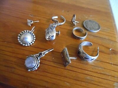 All Sterling Misc. Items, Single Earrings, Toe Rings, One Dangle Gemstone piece