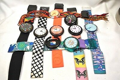 Lot of 8 Pop Swatch Watches, For repair or parts