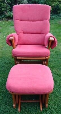 Dutailier Glider Nursing Chair and stool in deep pink